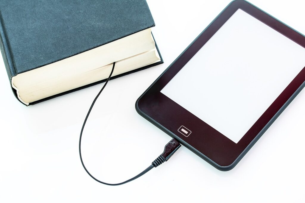 ebook, a book, charging cable-2467267.jpg